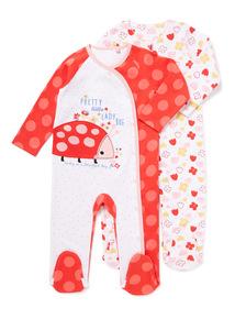 2 Pack Red Ladybird Sleepsuits (Newborn-24 months)