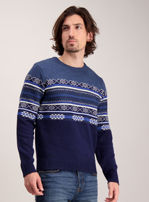 Navy & White Fairisle Crew Neck Jumper