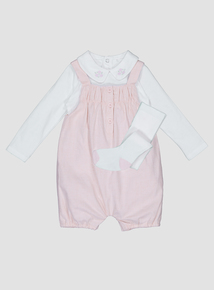 Pink Woven Bibshort And Tights (0-24 months)