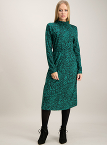 Online Exclusive Green Animal Print Dress