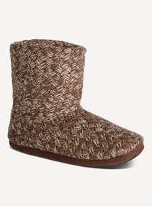 Brown Woven Slipper Boots