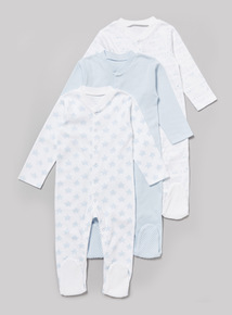3 Pack Blue Sleepsuits (Tiny Baby-36 months)