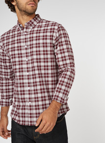 Burgundy Check Regular Fit Oxford Shirt