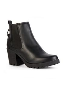 Black Chelsea Block Heel Ankle Boot