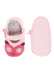 Girls Pink Owl Knitted Slippers