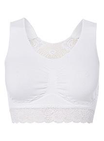 White Seamless Lace Back Unpadded Bra