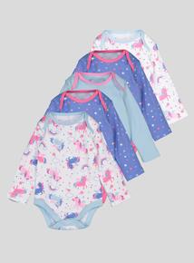Multicoloured Unicorn & Star Bodysuits 5 Pack (Newborn -24 Months)