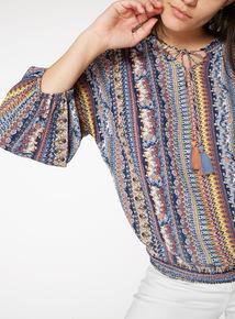 Multicoloured Floral Stripe Tassel Blouse