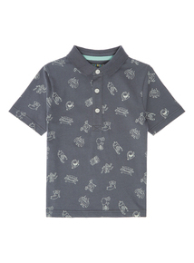 Boys Grey Monster Print Polo (9 months-5 years)