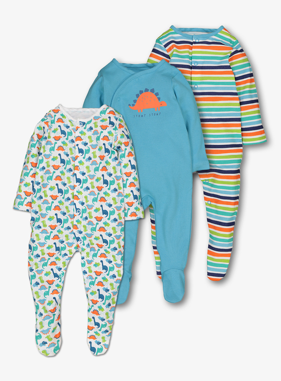 4344423ea Baby Multicoloured Dinosaur Sleepsuits 3 Pack (0-24 months)
