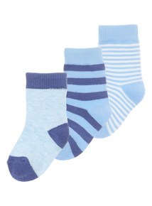 Boys Blue Socks 3 Pack