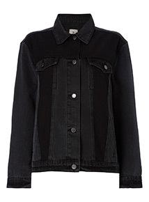 Black Colour Block Denim Jacket