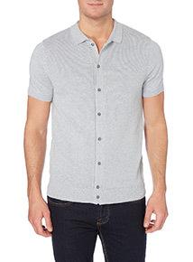Grey Button Through Knitted Polo