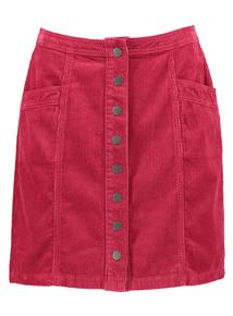 Pink Corduroy A-Line Skirt