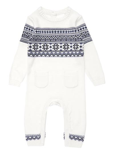 Arctic Adventure Boys Cream Fairisle Romper Suit (0-24 months ...