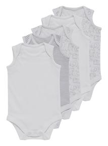 Unisex White Bodysuits 5 Pack (0-3 years)