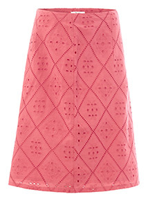 Coral Embroidered A-Line Skirt