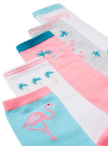 5 Pack Multicoloured Flamingo Socks