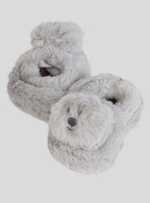 Grey Faux Fur Bear Rattle Slippers (0 - 18 Months)