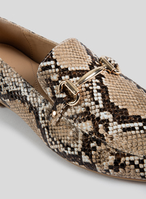 Sole Comfort Tan Faux Snakeskin Loafer