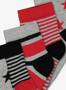 Multicoloured Star & Stripes Socks 5 Pack (Infant 3-6.5)