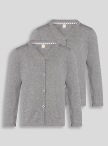 Grey Scalloped Cardigan 2 Pack (3-12 years)