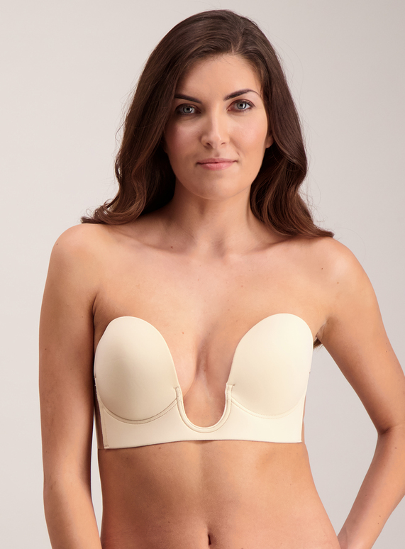 ef87fe258a Womens Online Exclusive Nude Stick On Strapless U Plunge Bra