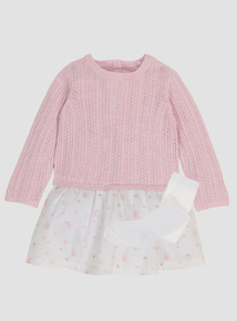 Pink Jumper Dress With Tights (0-24 months)
