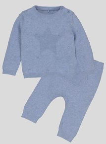 Blue Knitted Star Jumper & Legging Set (Newborn - 12 months)