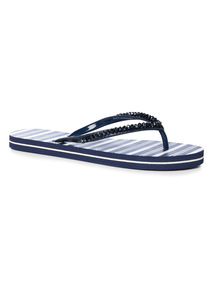 Nautical Stripe Glitter Flip Flop