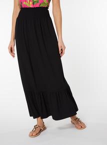 Shirred Waist Tiered Maxi Skirt