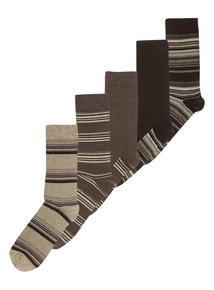 Brown Stripe Socks 5 Pack