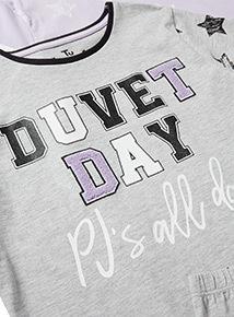 2 Pack Multicoloured 'Duvet Day' Pyjamas (4-14 years)