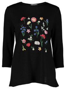Online Exclusive Black Floral Embroidered Top
