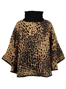 Black & Tan Leopard Print Poncho