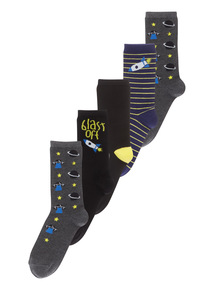 Grey Space Socks 5 Pack (3-12 Years)