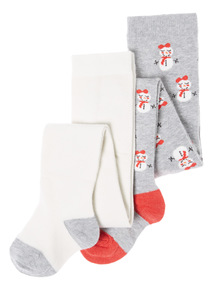 2 Pack Multicoloured Snowmen Tights (1-12 years)
