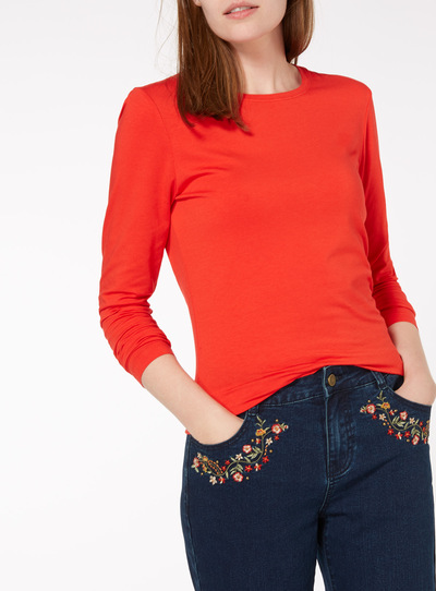 Red Long Sleeve Plain Top