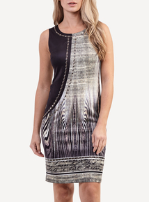 IZABEL Multi Black Contrast Sleeveless Dress