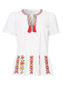 Embroidered Woven Hem Blouse