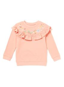 Pink Little Gardener Embroidered Frill Sweatshirt (9 months-6 years)