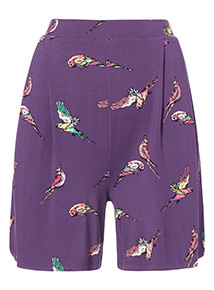 Purple Bird Print Culottes