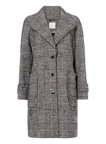 Check Print Exaggerated Collar Coat