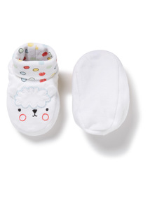 White Sheep Embroidered Booties (0-24 months)