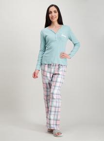 aff408cc19 Green Lace Trim Henley Pyjama Set