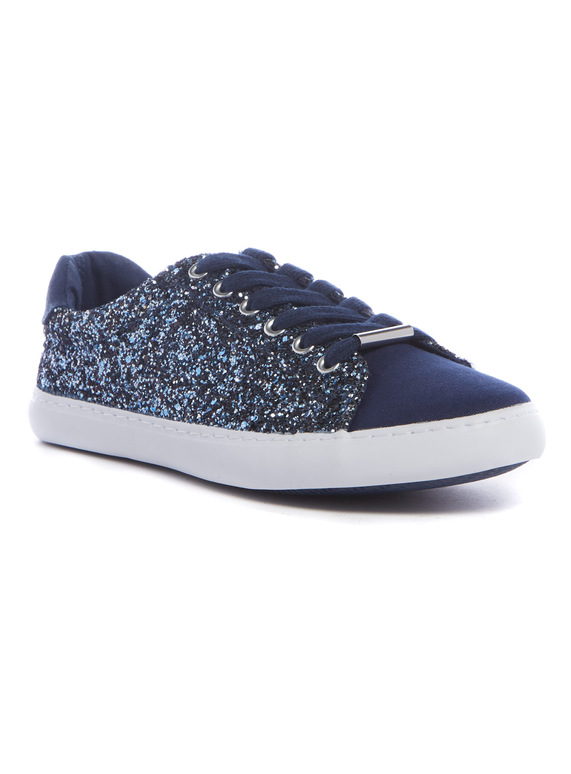 45ac1d3d3682 Womens Online Exclusive Navy Glitter Lace Up Trainers | Tu clothing