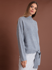 Premium Blue Funnel Neck Tie Waist Jumper