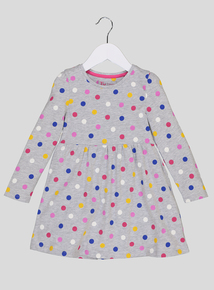 Grey Jersey Spot Dress (9 months-6 years)