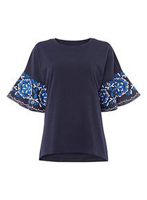 Navy Embellished Sleeve Top