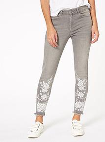 Grey Floral Skinny Jeans